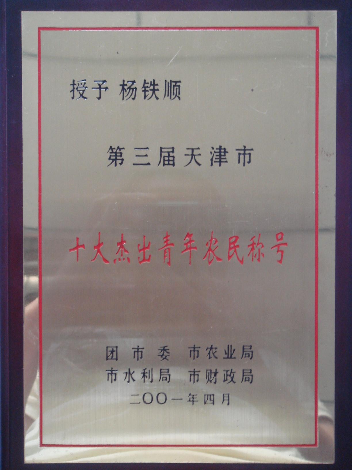 "<div style=""text-align:center;""> 天津市十大杰出 </div> <div style=""text-align:center;""> 青年农民 </div>"